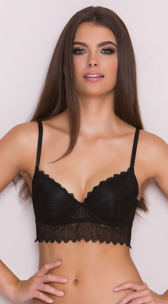 Yandy Modern Graphic Black Longline Bra, black lace bra - Yandy.com