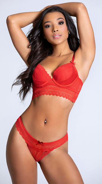 Yandy Gloss Over Red Thong Panty - Red