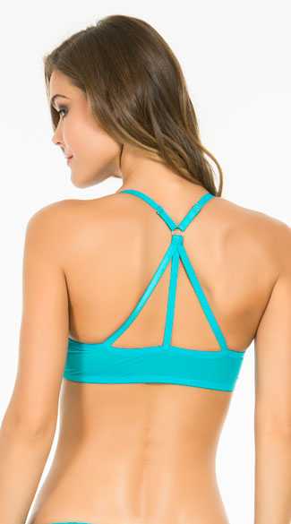 Girl Without Limits Blue Racerback Bra, Blue Racerback Bra, Strappy Racerback Bra