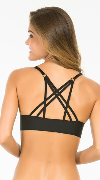 Whats The Fused Black Racerback Bra, Strappy Black Bra, Strappy Racerback Bra