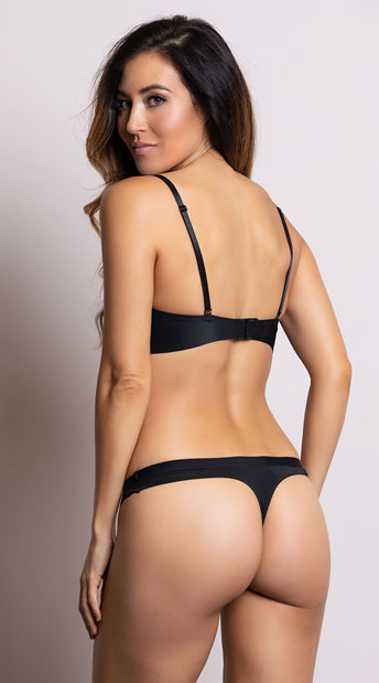 Yandy Sleek and Chic Black Thong - Black