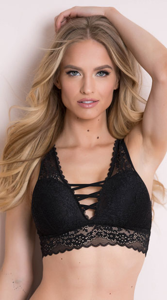 Yandy All Crossed Up Black Bralette - Black