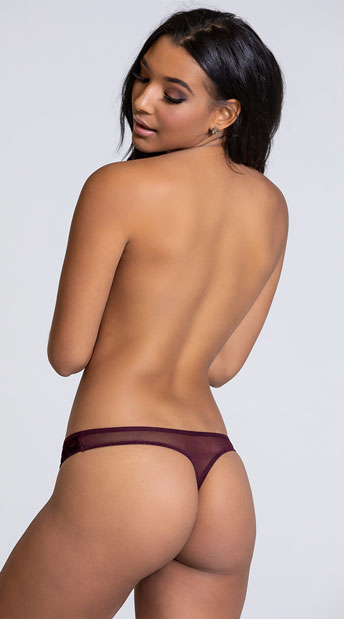 Yandy Velvet Nights Burgundy Thong Panty - Burgundy