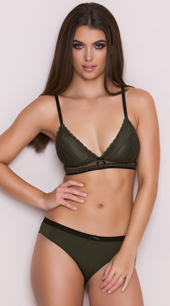Yandy Compare and Contrast Olive Bikini Panty, green lace panty - Yandy.com