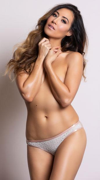 Yandy Geometric Cutwork Beige Bikini Panty - Beige