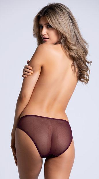 Yandy Velvet Nights Burgundy Bikini Panty - Burgundy