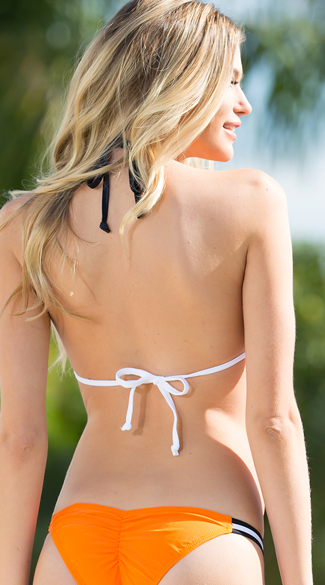 Exclusive Orange and White Team Spirit Bikini Top - Orange/White