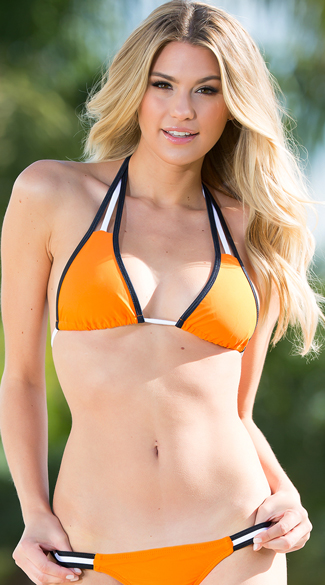 Exclusive Orange and White Team Spirit Bikini Top, Orange and White Bikini Top, Orange and Black Bikini Top