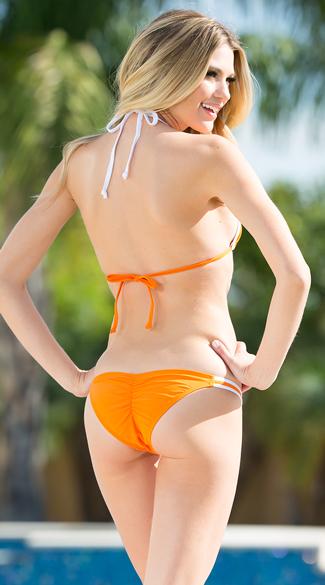 Exclusive Burnt Orange and White Team Spirit Bikini - as shown