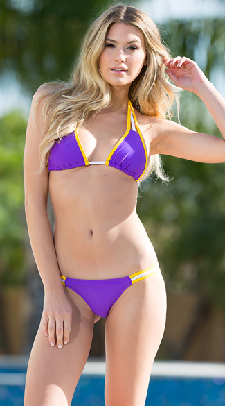 Purple and gold bikini