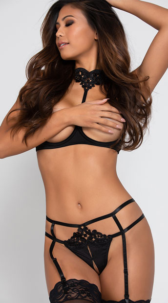 Yandy Seduce Me Open Cup Bra Set - Black