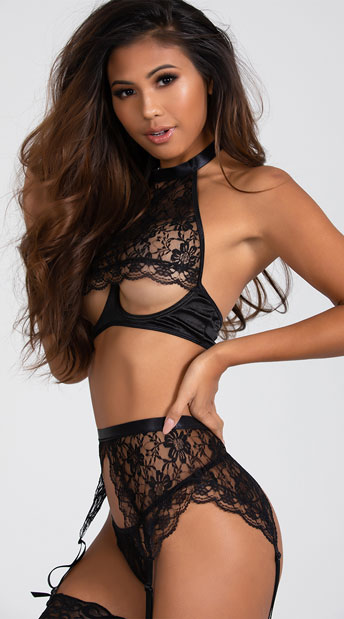 Yandy Lust For Me Lace Bra Set - Black