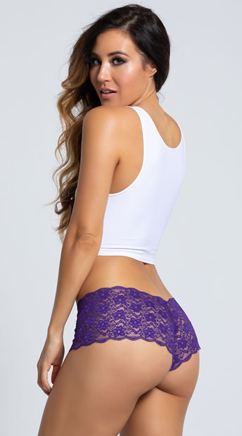 Yandy Lace Dreams Boyshort - Purple