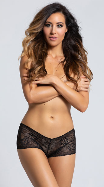 Yandy Lacy Crotchless Boyshort - Black