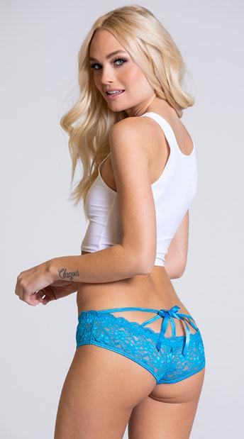 Yandy Cage Back Lace Panty - Ocean Blue
