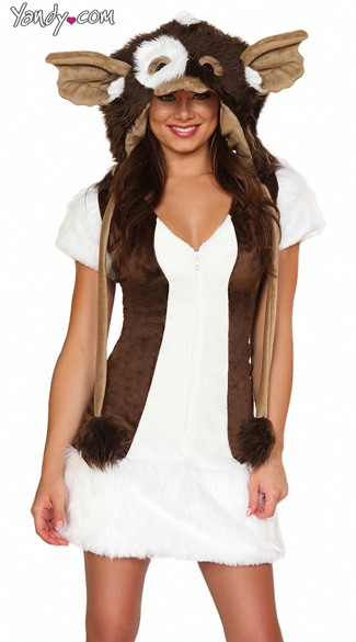 Critter Dress, Furry Costume Dress, Brown and White Furry Dress
