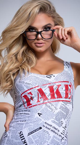 Yandy Fake News Costume - White/Black