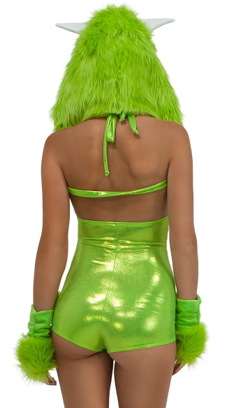 One Eyed Green Furry Romper - Green