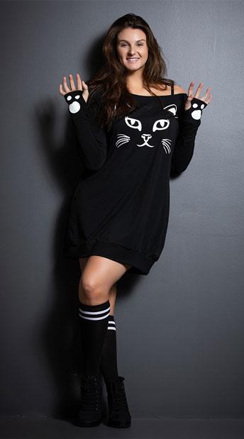 6eb8b697f89 Yandy Plus Size Kitty T-Shirt Dress Costume, plus size cat dress ...