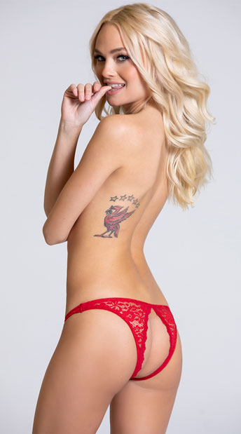 Tease Me Crotchless Panty - Red