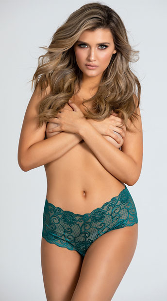 Yandy Crotchless Lace Boyshort Panty - Everglade