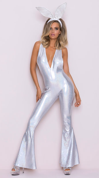 Disco Playboy Bunny Costume - Silver