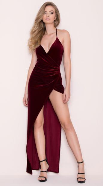 5c4bb5d1243 Yandy Classic Velvet Dress - Burgundy ...