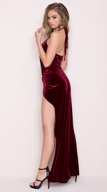 Yandy Classic Velvet Dress - Burgundy