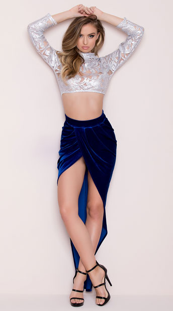 Yandy Midnight Luxury Skirt Set, Yandy Embroidered Crop Top, silver crop top - Yandy.com, Yandy Split Velvet Skirt, blue velvet skirt - Yandy.com