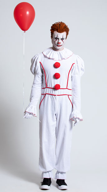 Yandy Men's Dancing Sewer Clown Costume - White