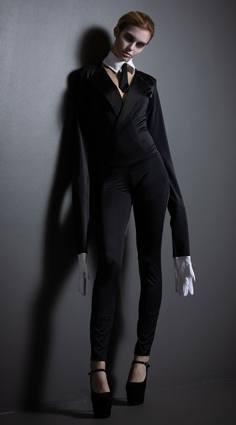 Yandy Creepy Slim Man Costume - Black/White