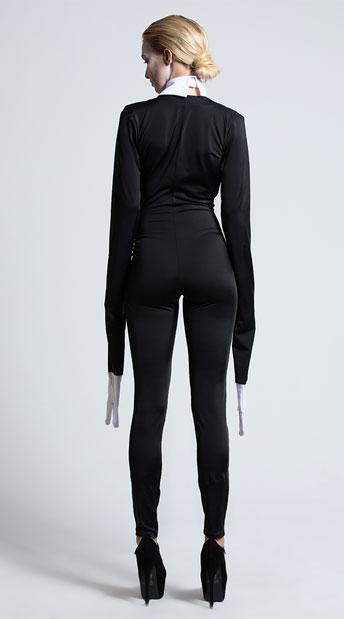 Yandy Creepy Slim Man Costume - Black/White