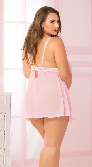 Plus Size Mesh and Lace Pink Flyaway Babydoll Set - Pink