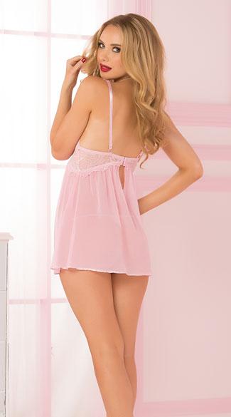 Yandy Mesh and Lace Pink Flyaway Babydoll Set - Pink