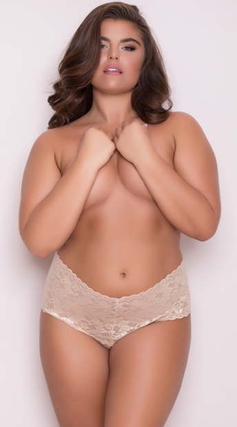 Yandy Plus Size High Waisted Stretch Thong - Almond
