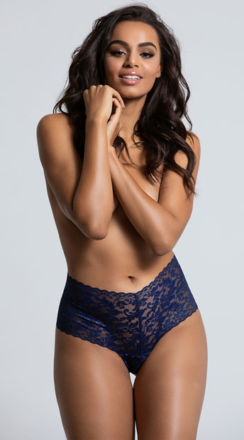 Yandy High Waisted Power Stretch Lace Thong - Navy