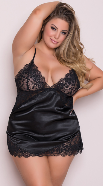 9cccf83856b Yandy Plus Size Luxurious Lounge Babydoll - Black ...