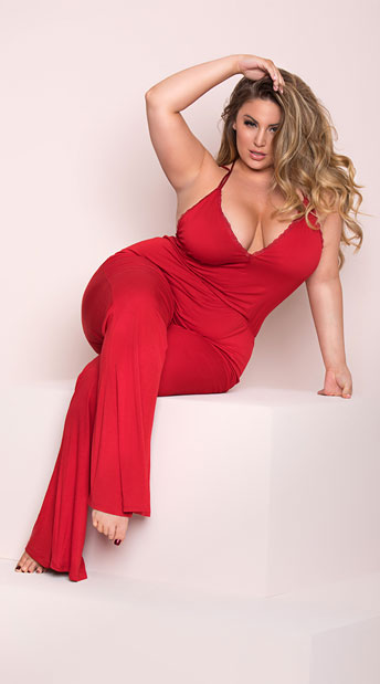 975f7858bd8 Yandy Plus Size Soft Jersey Lounge Jumpsuit - Ruby ...