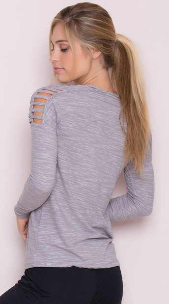 Yandy Caged Active Top - Grey