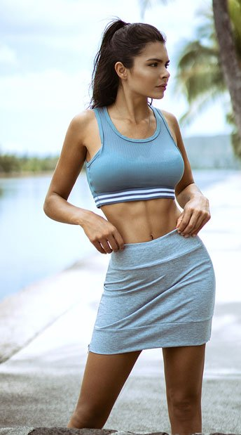 Yandy Striped Jersey Sports Bra - Blue