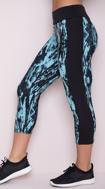 Yandy Splatter Mesh Capri Leggings - Black/Blue