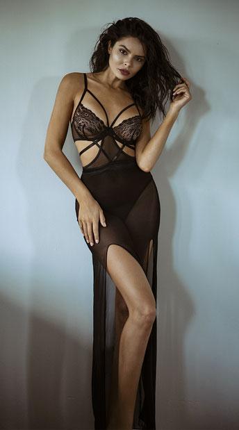 Yandy Crave Me Cut-Out Mesh Gown - Black