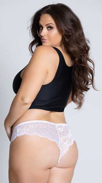 Plus Size Floral Lace Thong Panty - White