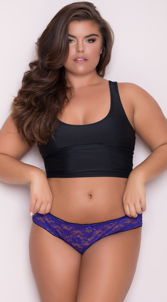 Yandy Plus Size Ruffled Lace Thong Panty - Purple