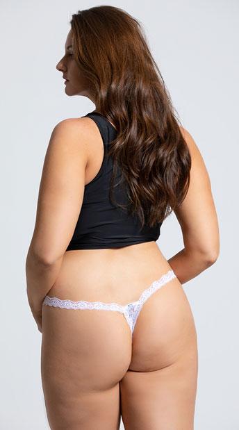 Yandy Plus Size Low Rise Lace Thong - White
