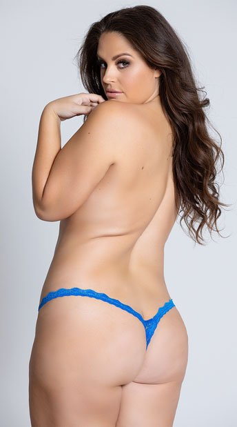 Yandy Plus Size Low Rise Lace Thong - Blue