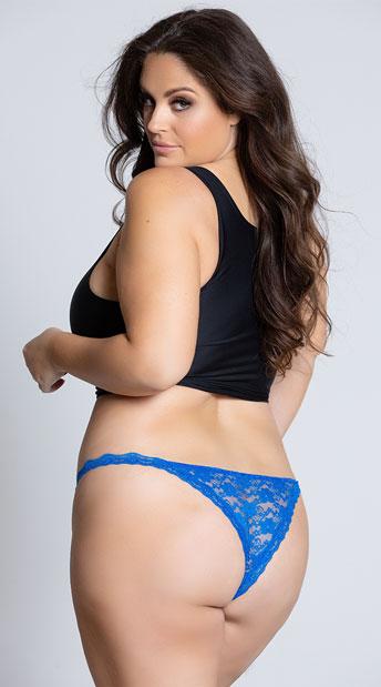 Yandy Plus Size Low Rise Lace Bikini - Blue