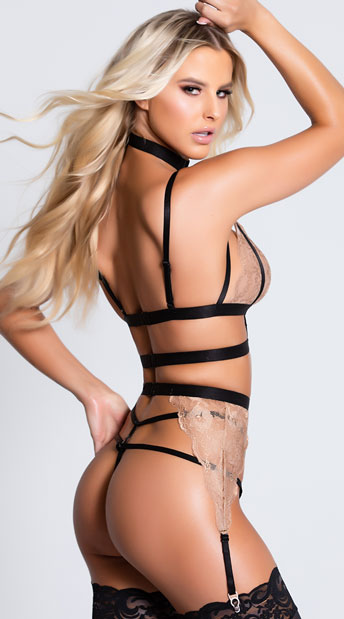 Ms. Rebel Bralette and Garter Set - Black/Tan