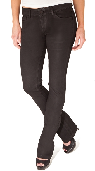 Black Wax Coated Mini Boot Cut Jeans Black Coated Jeans