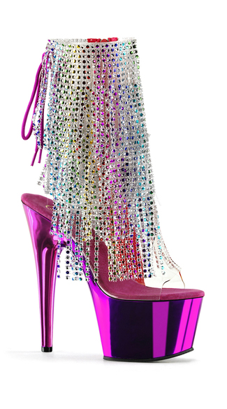 "7"" Rainbow Fringe Chrome Ankle Boots, 7\"" Pink Chrome Ankle Boots, 7\"" Fringe Ankle Boots"